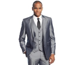 Shiny Light Grey Suit Wedding Online | Shiny Light Grey Suit