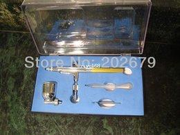 Wholesale New mm Spray DUAL ACTION Nail Airbrush set Gun Paint hot sell glod color