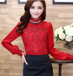 Wholesale Royal Floral Chiffon Blouses Shirts Spring Cutout Slim Elegant Long sleeve Beaded Women Lace Tops Plus size M XXL