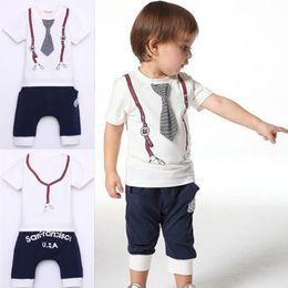 Wholesale New hot New Kids Baby Boy Cotton Tie Belt Print Top T Shirt Short Pants Tops Y White kids clothing sets