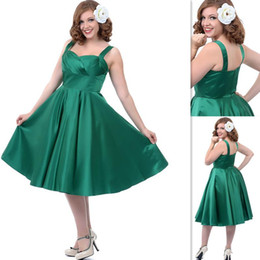 Wholesale Lime Emerald Green Plus Size Bridesmaids Dresses Spring Summer Stain Straps A line Tea Length Prom Party Gowns