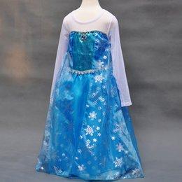 Wholesale Stock DHL frozen dress latest lace long sleeve Children s dress frozen dress cartoon Elsa blue girls cheap Christmas dresses