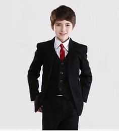 Wholesale Bespoke Popular Black Childern Suits Boys Wear Wedding Events Suits Formal Dresses Jacket Pants Tie Vest BT112116