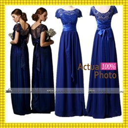 Wholesale Cheap In Stock Bridesmaid Dresses Under Hot Royal Blue Chiffon and Lace Anna Campbell Sheer Crew Neck Short Cap Sleeve Party Gowns