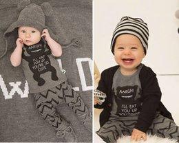 Wholesale Newborn Bodysuit Pants Set Baby Boy Clothes Outfit Grey