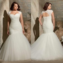 Wholesale Plus Size Mermaid Wedding Dresses Two Piece with Detachable Lace Bolero Cap Sleeve Jacket Corset and Tulle Big Bridal Gowns Cheap Hot