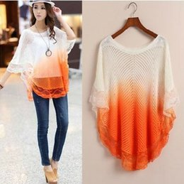Wholesale 1054 women fashion Casual Batwing around the neck Jumper loose knit pullover Top