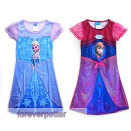 Wholesale Girls Frozen Dresses Princess Clothes Colors Elsa Anna Cosplay Costume Kids Halloween Party Dress Daily Wear