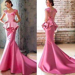 Wholesale 2016 Elegant Long Pink Meimaid Satin Cap Sleeve Floor Length Peplum Applique Flower Taffeta Ladies Formal Vestidos Long Evening Dresses