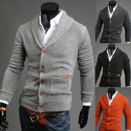 Wholesale Autumn Men long sleeve sweater Colourful V collar Men s Cardigan Sweater Male Slim Casual Dress Sweaters A4292