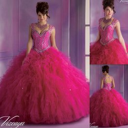 Wholesale 2015 Masquerade Ball Dresses Quinceanera Gowns Fuchsia Tulle Corset Ruffled Puffy Styles Beaded Crystals Floor Length Gothic Style Winter