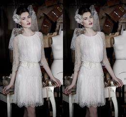 Wholesale Short Evening Dress Lace White Three Quarter Sleeve Mini Length Organza Flower Sash Tulle Sheer See Through Prom Evening Dress Elegant