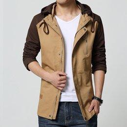 Wholesale 2015 los hombres ocasionales XL cubren las chaquetas militares del sombrero de la cremallera del estilo del invierno para los hombres forman la chaqueta al aire libre masculina masculina de la lona que trabajan