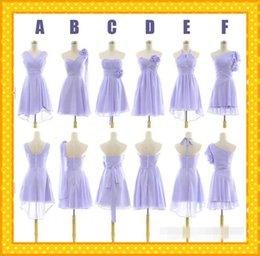 Wholesale 2015 In Stock Elegant Lilac Short Chiffon Bridesmaid Dresses Chiffon Pleated Handmade Flowers Pleated Sheath Evening Prom Party Dresses