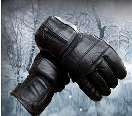 Wholesale New leather cotton men insulation gloves goatskin cold weather driving motorcycle gloves