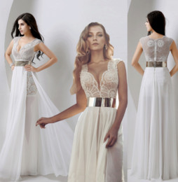 Wholesale In Stock Sexy V Neck Sheer Wedding Prom Gowns Julie vino Real Image Pearls Lace Chiffon Beach Garden Party Dresses with Gold Belt Cheap