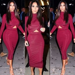 Wholesale 2014 Kim Kardashian High Neck Evening Dress Long Sleeve Sheath Tea Length Sexy Cocktail Dress Prom Party Gown