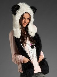 Wholesale Hot Winter Women Faux Fur Animal Costumes Cosplay Hat Hood Scarf Glove with Animal Ears Hat Imitation Cap M123
