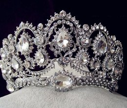 Wholesale Sparkle Beaded Crystals Wedding Crowns Bridal Crystal Veil Tiara Crown Headband Hair Accessories Party Wedding Tiara