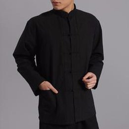 Wholesale Men Frog Button Jacket Top Shirt Chinese Kung Fu Martial Arts Tai Chi Cotton New