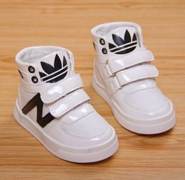Wholesale Baby Boys Girls Sporting Board Shoes Casual PU Antiskid Ankle Boots Children Kids Dancing High Shoe Footwear White Black T K1564
