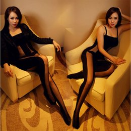 Wholesale Package imported luxury sexy fun one piece mixed colors coveralls socks to open file Siamese stockings sexy lingerie
