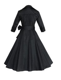Wholesale Audrey Hepburn Vintage Style Casual Dresses European Fall Winter Long Sleeves Big Ruffles Women Plus Size Clothing OXL082209