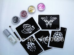 Wholesale DIY reusable glitter tattoo stencil colors Glitter tattoo kits with tattoo stencils glue brush