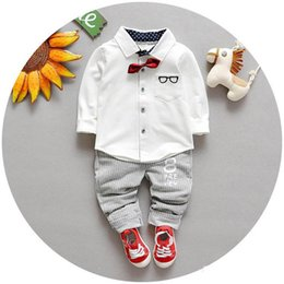 Wholesale Spring of new children s clothing Children Suit Boys Outfit bow tie shirt stripe casual pants Boy Suit Toddler Newborn Set Baby Wear LH09