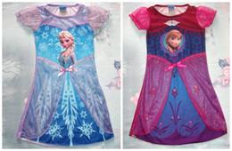 Wholesale New Arriva Toddler Girls Costume Frozen Elsa Anna Princess Pajamas Night Gown Shirt Dresses Baby Dress Princess Skirt Lace Flower Tutu Dress