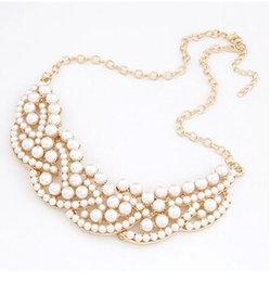Descuento grande DHL el Envío Gratuito de las Mujeres Elegante de la Vendimia de Imitación de la Perla Ahuecado de Oro Gargantilla Babero Collar de Collar en stock