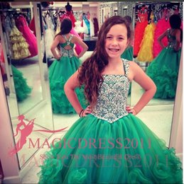 Wholesale 2015 Green Pageant Dresses Crystal Long Length Little Girls Pageant Dresses Ball Gown Flower Girl Dresses For Wedding Cupcake Dresses
