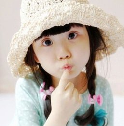 Wholesale Hot sale Travel Outside Children Beach Girls Hat Summer hat Handmade Sun Hat Baby Bucket hat Lace Bow A3637
