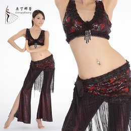 Wholesale 2015 New Handmade Belly Dance Costume Tribal Set Pantalones Saten Professional Performing Tribe Clothing Top Belt Pants