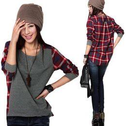 Wholesale Promotion Sale New fashion Long Sleeve plaid Bottoming Shirt women Female sweater S M L XL XXL size Loose blouse