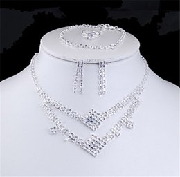 Wholesale Fashion Arylic Crystal Rhinestone Necklace Earrings Chain Jewelry Sets Girl and Women Party Dress Wedding Bridal Jewelry DHL