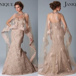 Wholesale 2015 Champagne Pink Evening Dresses Inspired by JANIQUE Sweetheart Crystals Kaftan Zipper Back Lace Mermaid Arabic Dubai Abaya Evening Dress