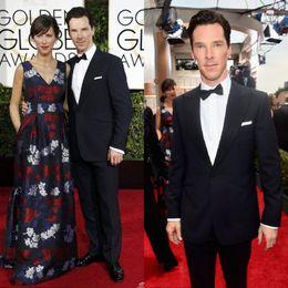 Wholesale 2015 th Golden Globe Benedict Cumberbatch Custom Made Slim Fit Groom Tuxedos Best Man Suit Wedding Groomsman Men Suits Jacket Pants Tie