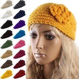 500PCS HHA205 завод Цена Женщины моды Шерсть группа крючком повязка Вязание волос цветок Зимний ухо теплым 20 Цвет