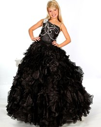 Wholesale Black Girls Long Pageant Dresses for Teens Organza Flowers One Shoulder Sequined Cascading Ruffles Kids Evening Graduation Party Ball Gowns
