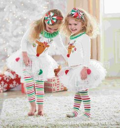 Wholesale 2015 New Fashion Baby Girl Clothing Sets Holiday Christmas Print Long Sleeve T Shirts Striped Ruffle Pants Outfit Sets