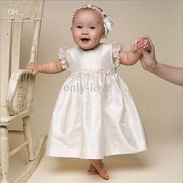 Wholesale Ivory Hot Sale Puff Short Sleeves A Line Chrisom Baby Infant Christening Dresses Jewe Ruching Lace Edge Floor Length Flower Girl Dresses