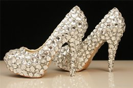 Wholesale 2016 Cheap High Quality Fashion Silver Rhinestone Beaded Wedding Shoes Women s High Heels Bridal Evening Prom Party Bridesmaid Shoes