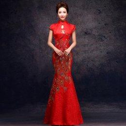 Wholesale Mermaid Long Wedding Dress Red Bride Toast clothing Cheongsam Slim Evening dress Short Sleeve Stand Collar Cheongsam Dress