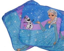 Wholesale 24pcs cm Cartoon Princess Kids Face Towel Children Square Hand Towel Washcloth Small Square Handkerchief ht001