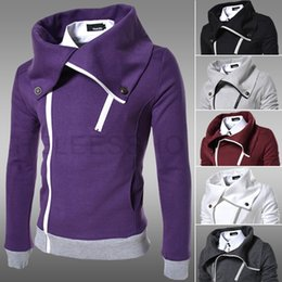 Wholesale 2014 autumn black Korean Slim Coat casual thick male Sweatshirts large lapel thick fleece sweater Men Hoodies
