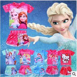 Wholesale 7 designs New Girls Frozen HelloKT Sofia The Little Mermaid Princess SwimSuit Piece Swim Bodysuit kid Swimsuit swimwear LJJC876