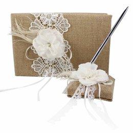 Wholesale 2Pcs New Style Burlap Hessian Lace Flower Decor Wedding Guest Book Pen Set Decoration Bridal Products Supplies JZ MBHD B
