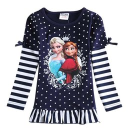 Wholesale Frozen Elsa Long Sleeve T Shirt Girl Dress Fashion Children T Shirts Spring T Shirt Girls Tops Child Clothes Kids Clothing Ciao C22791
