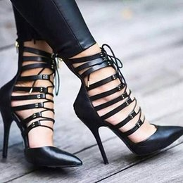 online shopping Famous New Nightclub Ladies Women Prom Pointed Toe Cut Outs Sandal Shoes Hit Color Pumps Sexy Roman Lace Up High Heels